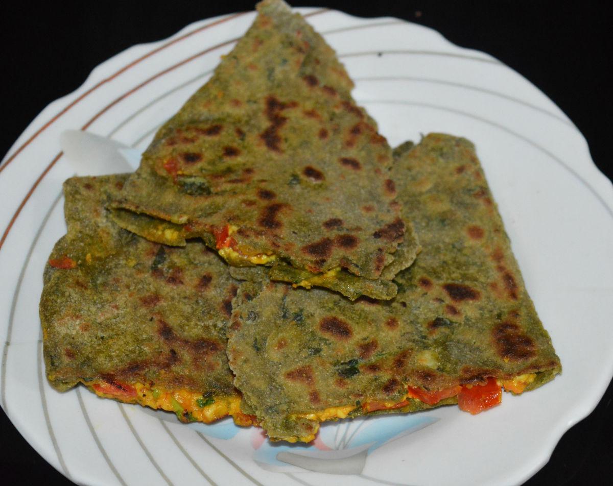 Pearl millet and fenugreek leaf pancakes, or bajra methi paratha
