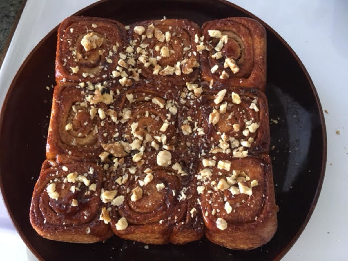Sticky Buns Topped With Walnuts
