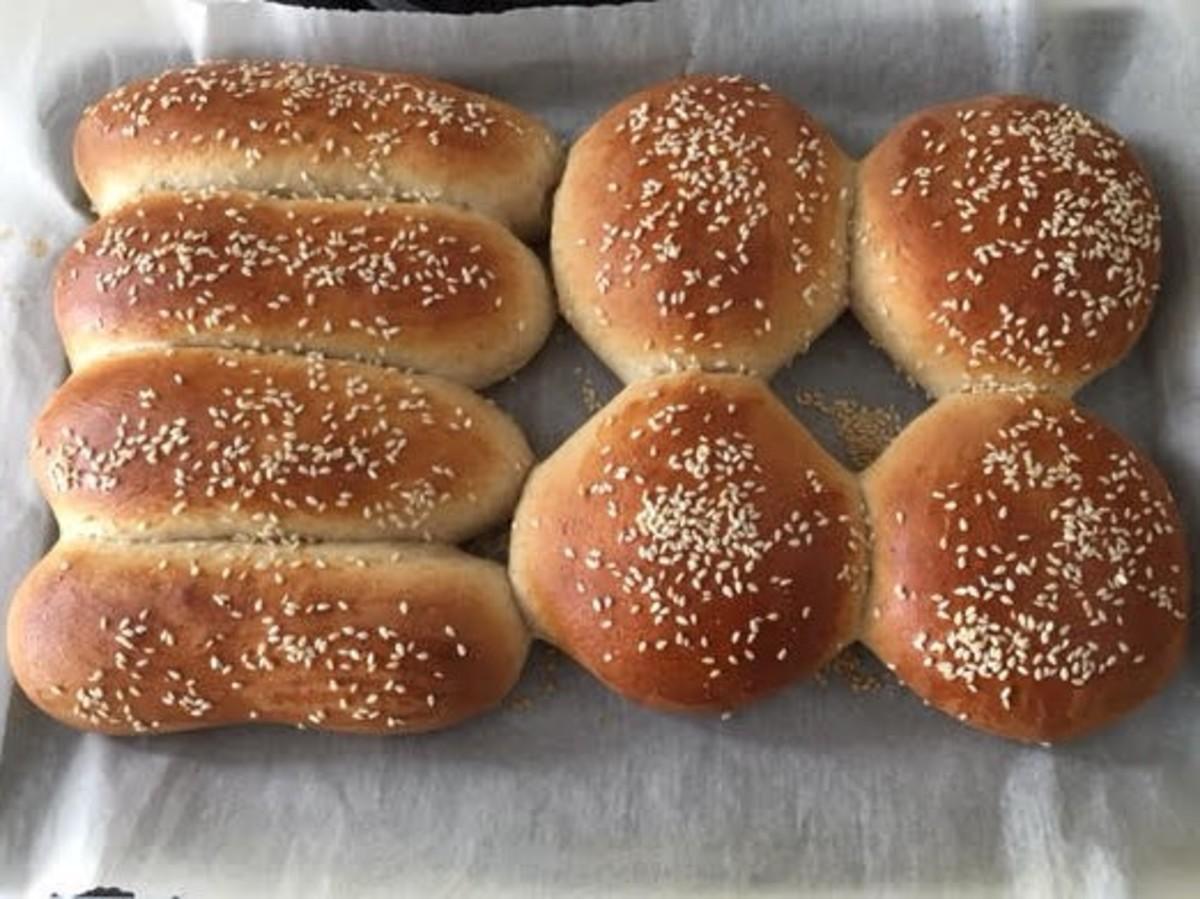 Home made hotdog and hamburger buns