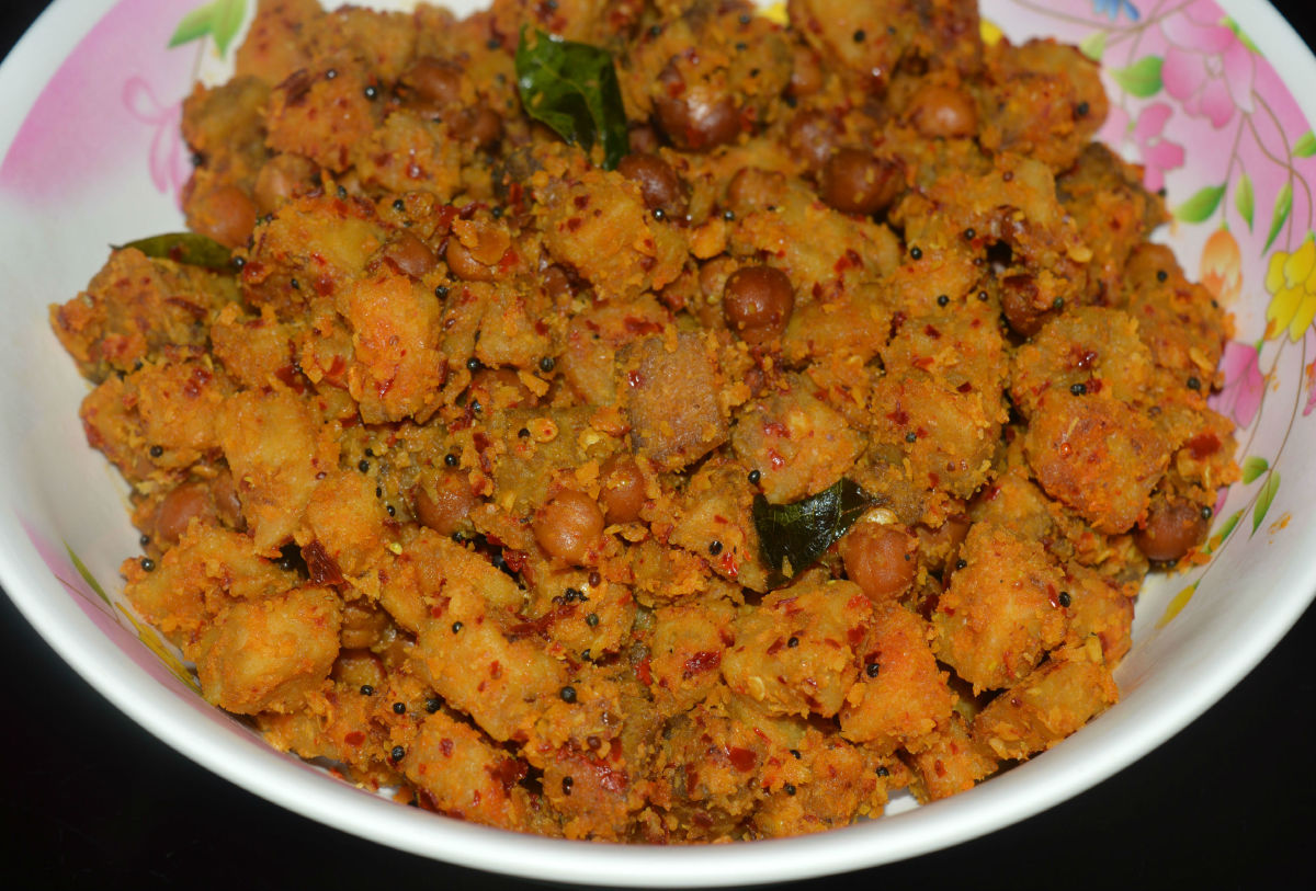 Elephant foot yam curry or Suran gadde palya