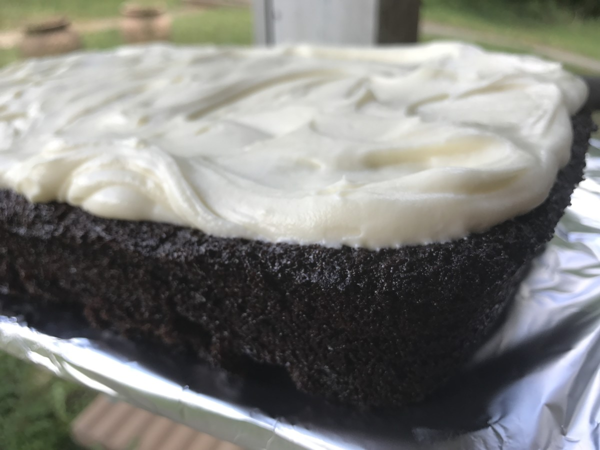 My son Ricky's favorite - a luxurious chocolate cake with delectable cream cheese frosting. Our favorite chocolate cake recipe!