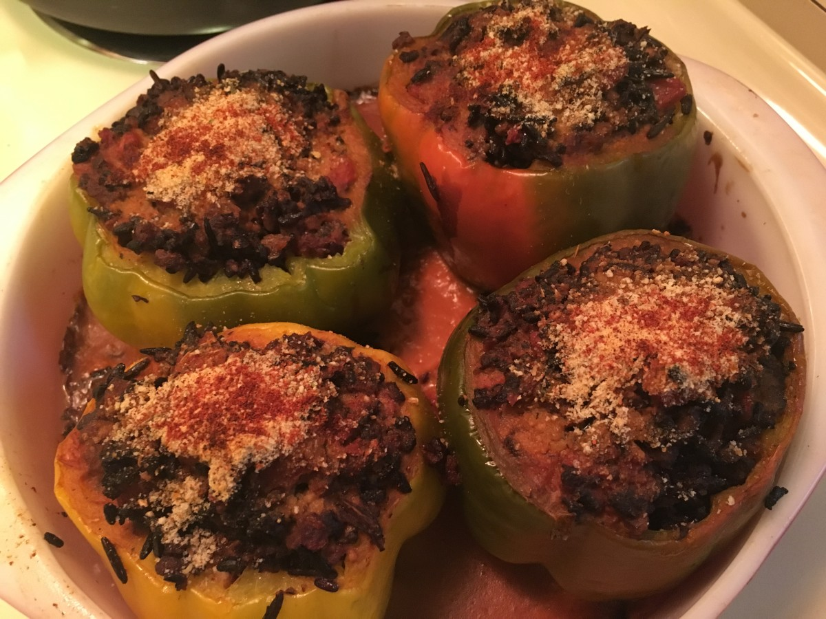 Vegetarian Stuffed Peppers With Meatless Crumbles