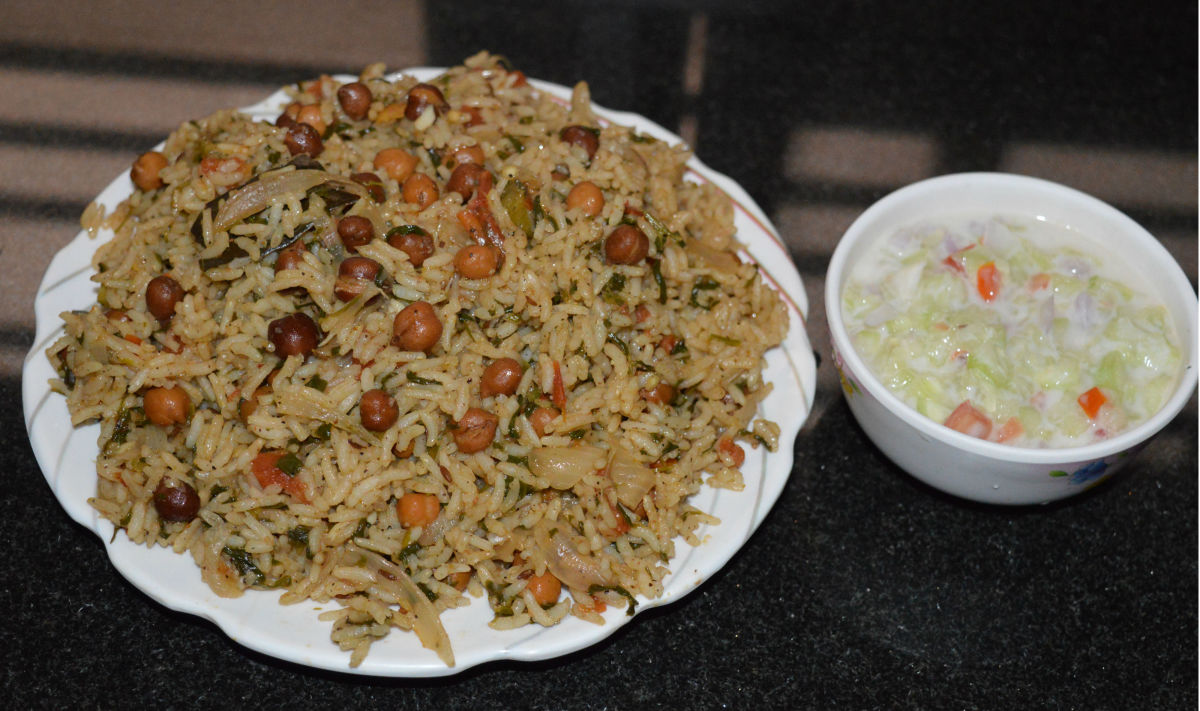 Methi Chana Pulav or Fenugreek Chickpea Pulav