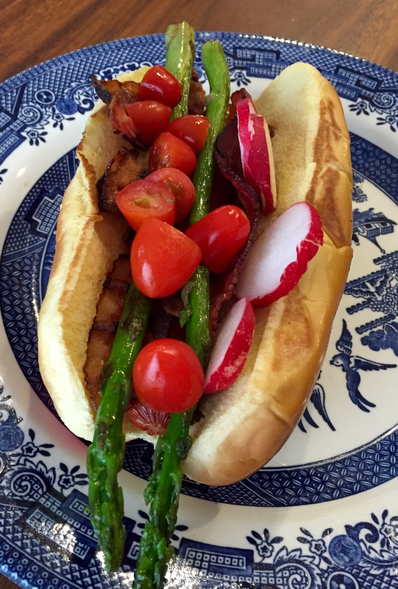 Gourmet Hot Dog: BART Dog (Bacon, Asparagus, Radish, and Tomato)