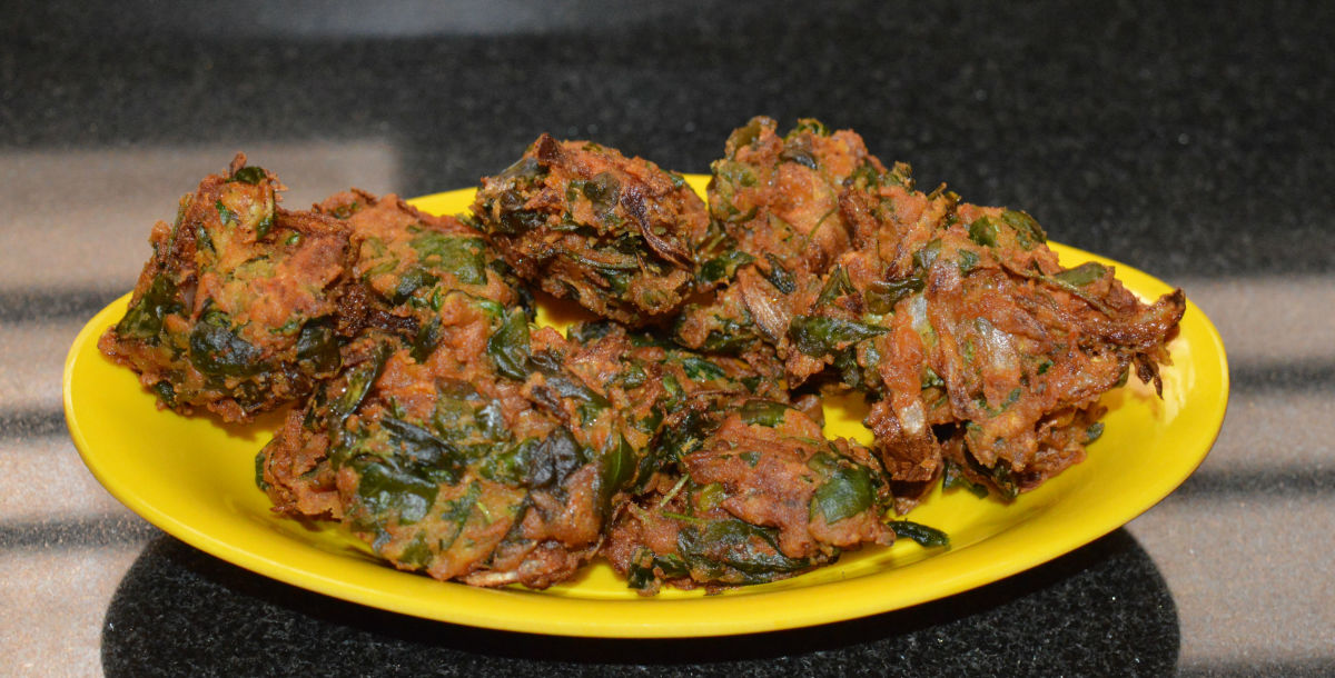 Methi pakora, or fenugreek leaf fritters