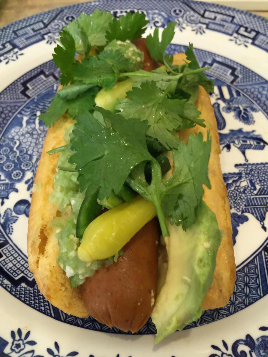 Gourmet Vegetarian or Vegan Hot Dog: The Green Monster