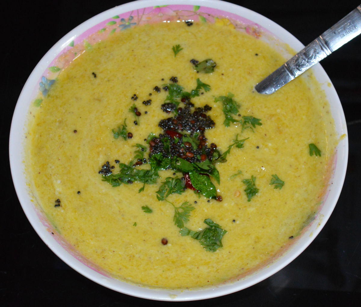 Yellow pumpkin raita is a yogurt-based side dish