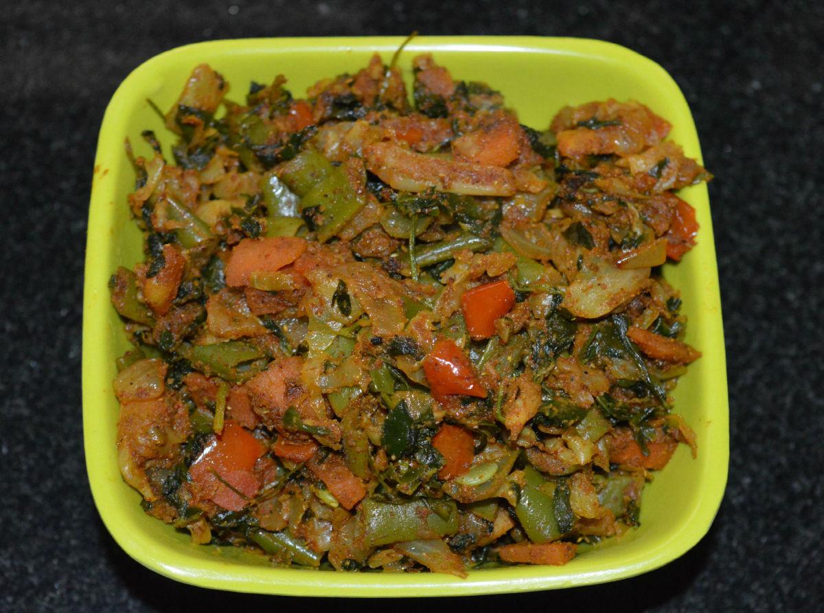 Vegan fenugreek and vegetable curry.