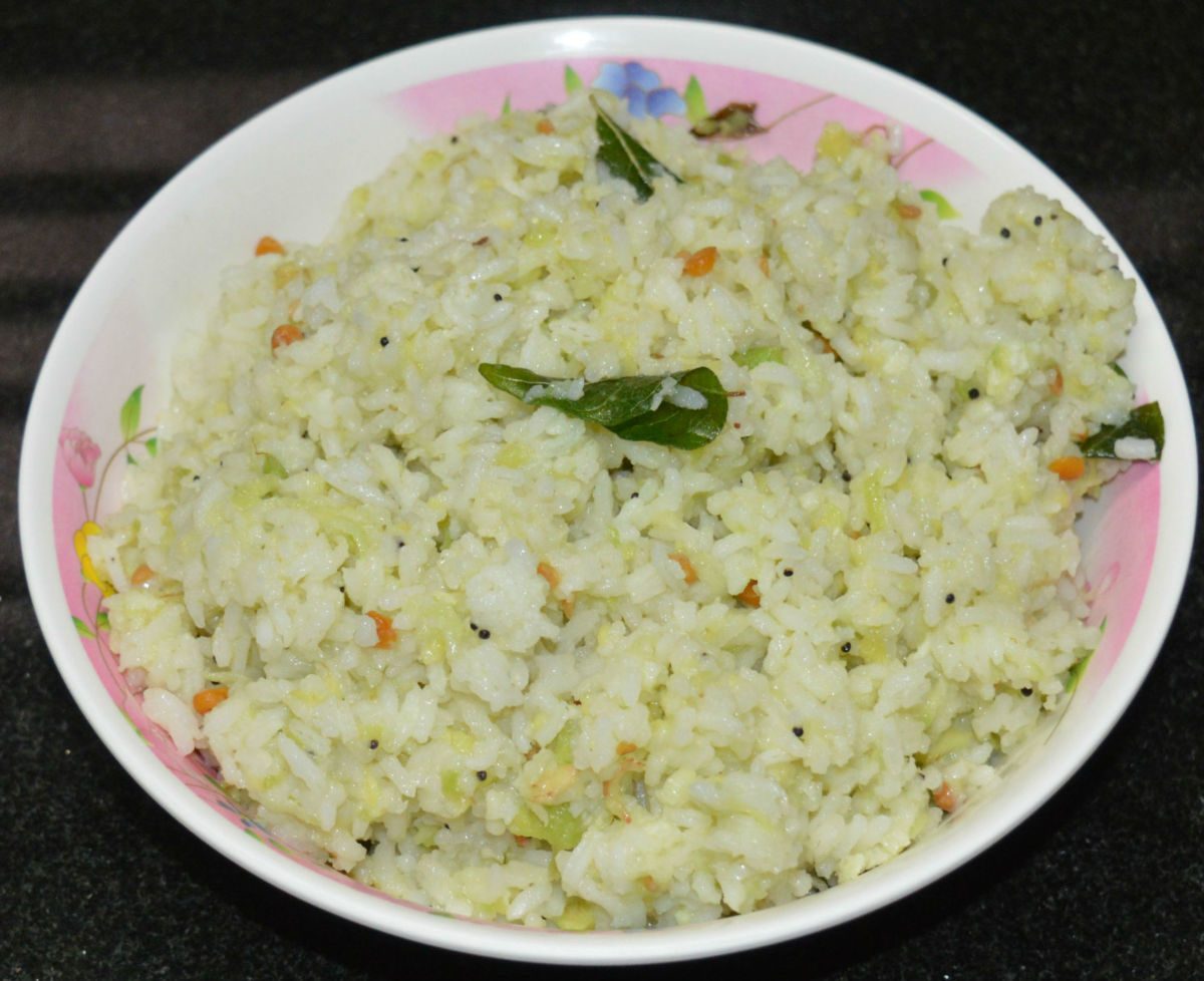 The finished creamy avocado (butter fruit) rice.