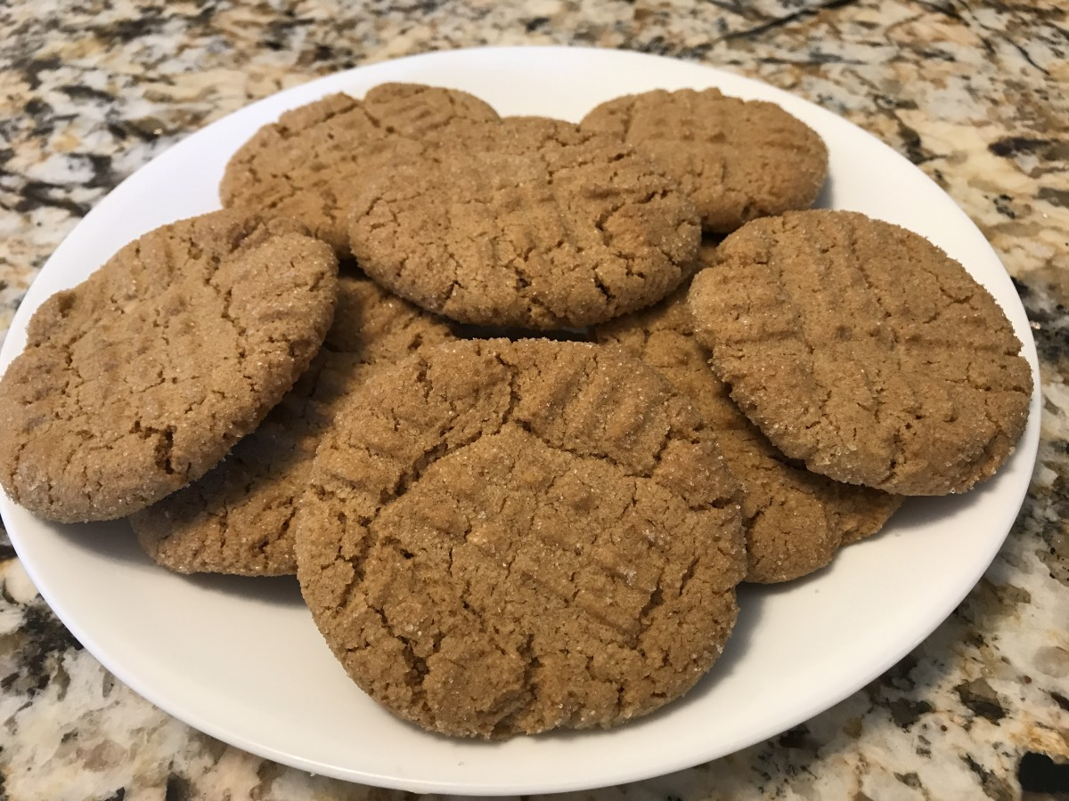 A plate of peanut butter cookies (these are the non-vegan version).