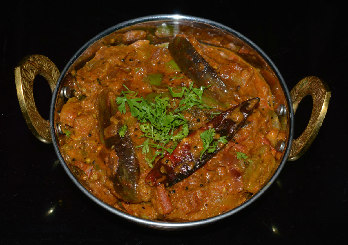 Spicy eggplant (brinjal) curry.