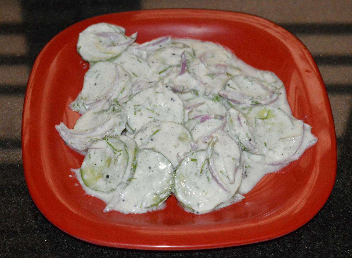 Creamy German cucumber salad.