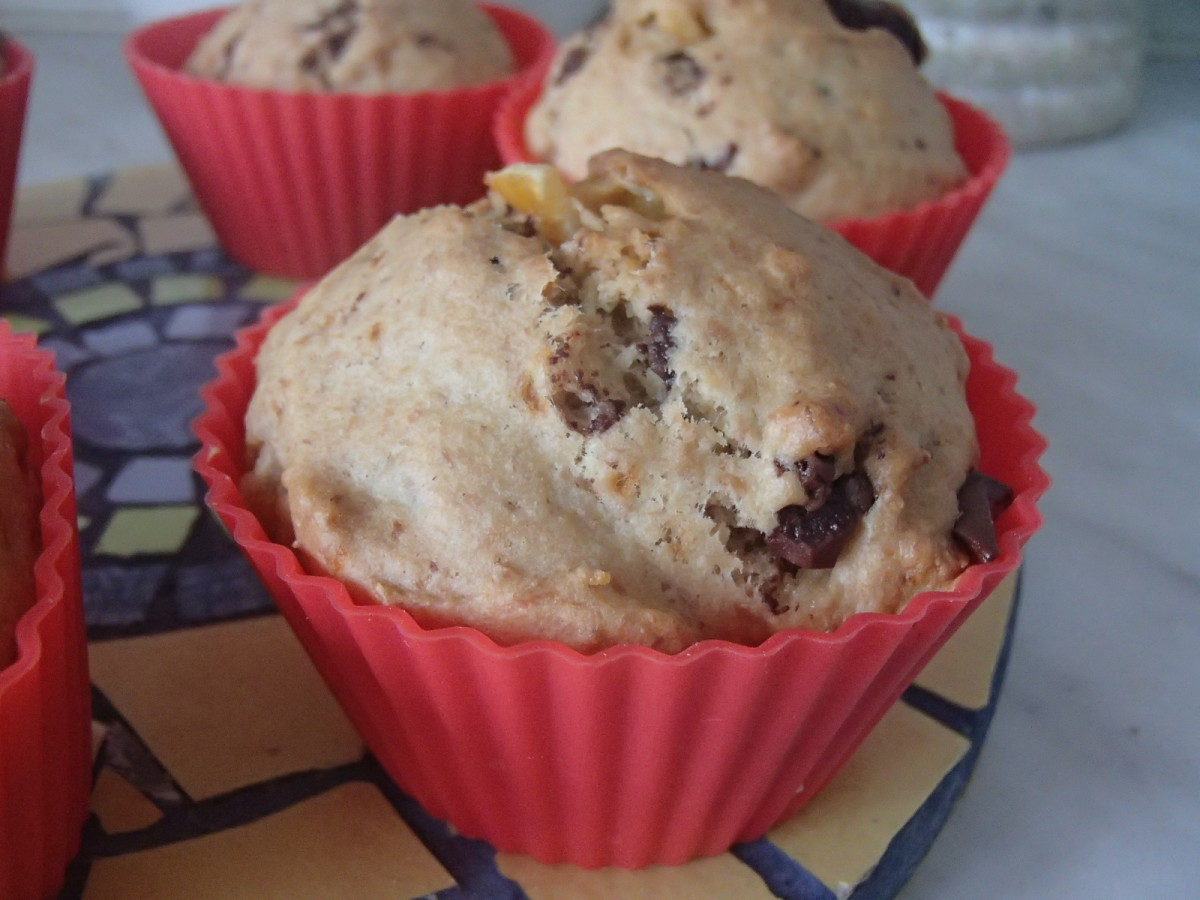 A batch of choco-orange muffins, ready to be eaten.