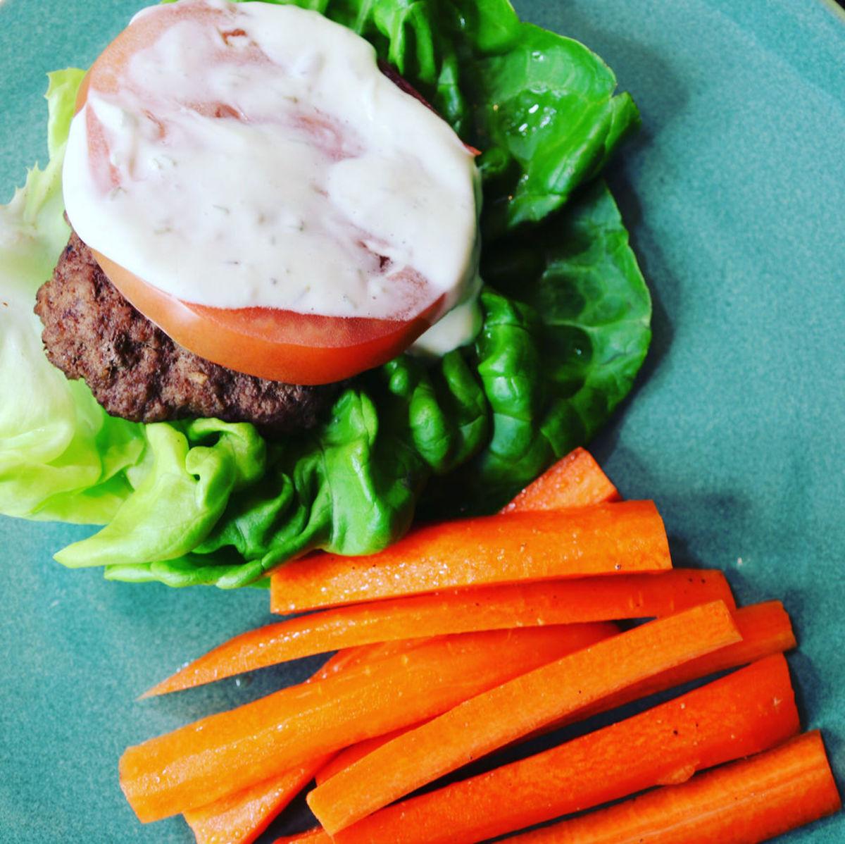 Keto-Friendly Rosemary Mayo Lettuce-Wrapped Burgers