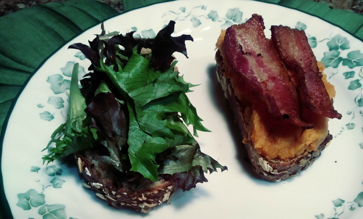 Sweet potato and bacon on some crusty whole-grain bread is a treat.