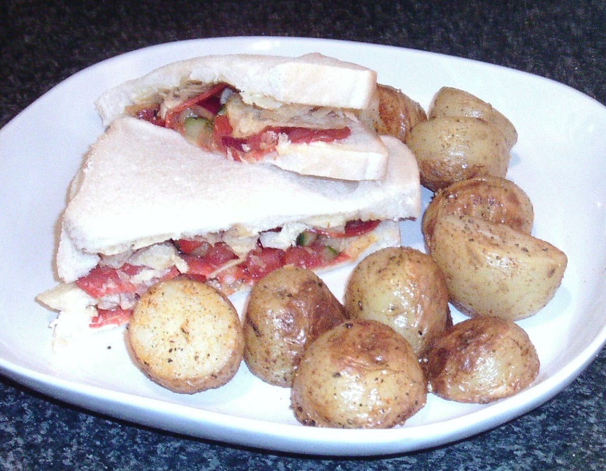 Spanish chorizo and salsa crisp sandwich served with spicy roasties