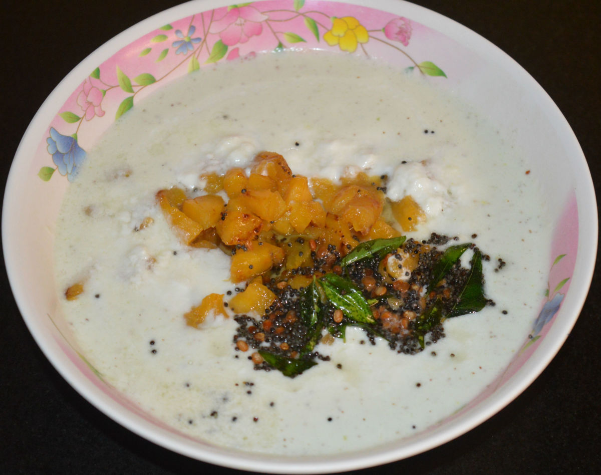 Ripe plantain (nendra banana) raita is a yogurt-based side dish