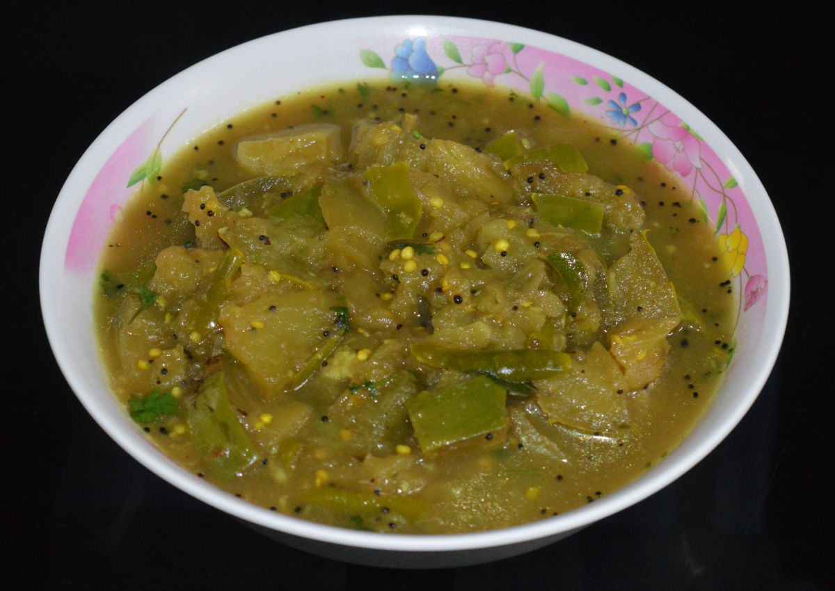 Authentic Indian Brinjal (Eggplant) Sambar Curry