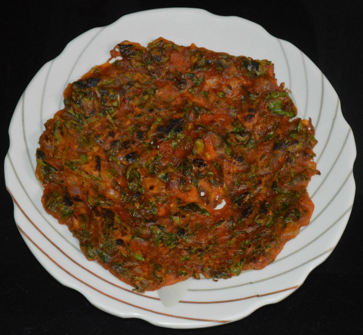 How to Make Spicy Fenugreek Leaf Pancake (Methi Roti)