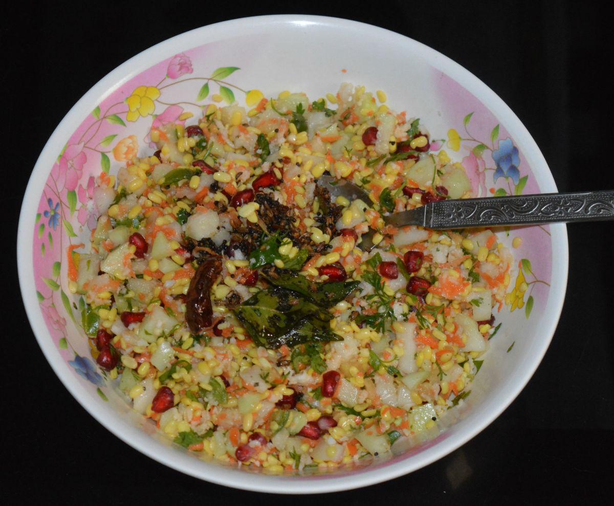 Making Knol-Khol (Kohlrabi) Salad or Navilu Kosu Kosumbari