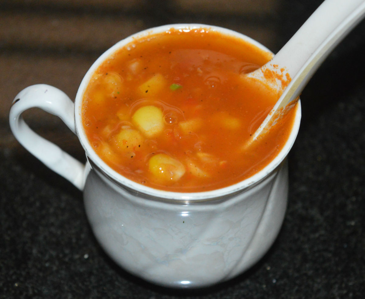 Single-Cup Sweet Corn Tomato Soup in Ten Minutes