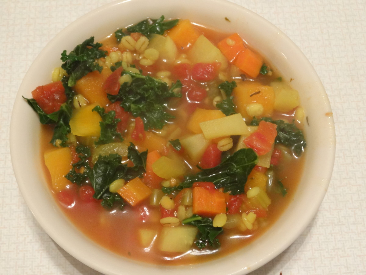 Beautiful and delicious winter vegetable barley soup.