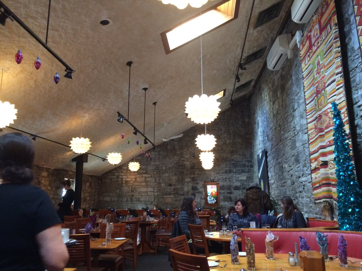This is Chez Piggy's second-floor dining area—the atmosphere is bright, airy, and warm.