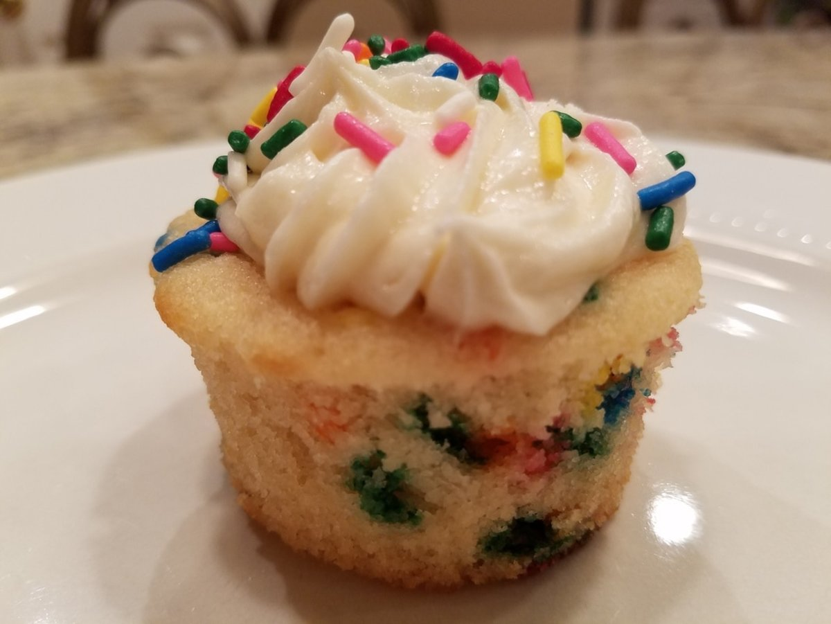"""Vanilla cake in a """"funfetti"""" style (with sprinkles baked in)."""