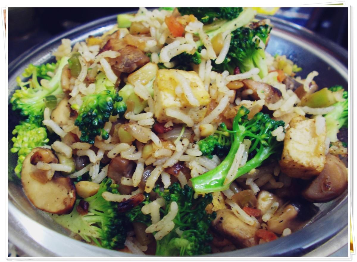 Tofu-mushroom-broccoli fried rice.