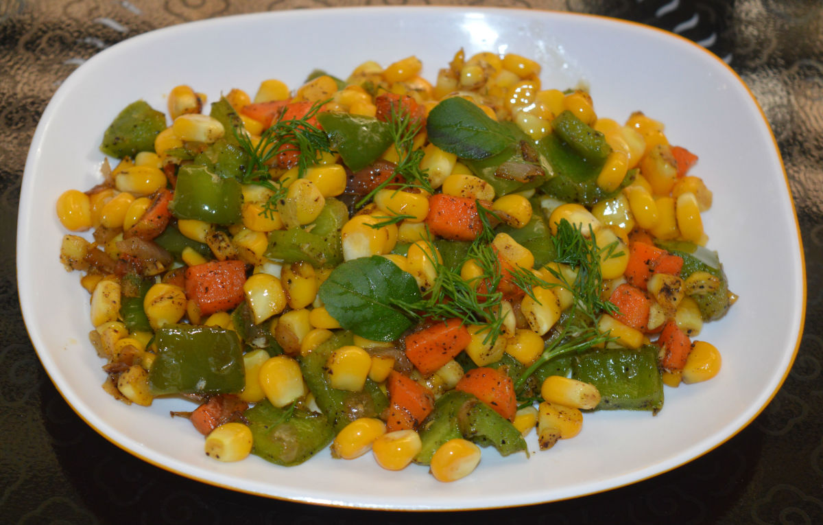 A colorful sweet corn side dish (confetti corn)