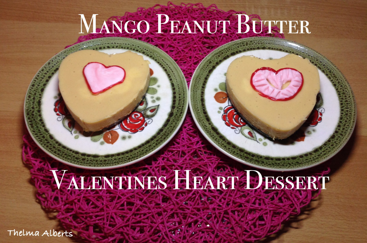 Learn how to make this delicious Valentine's Day dessert out of mango, peanut butter and crushed biscuits.