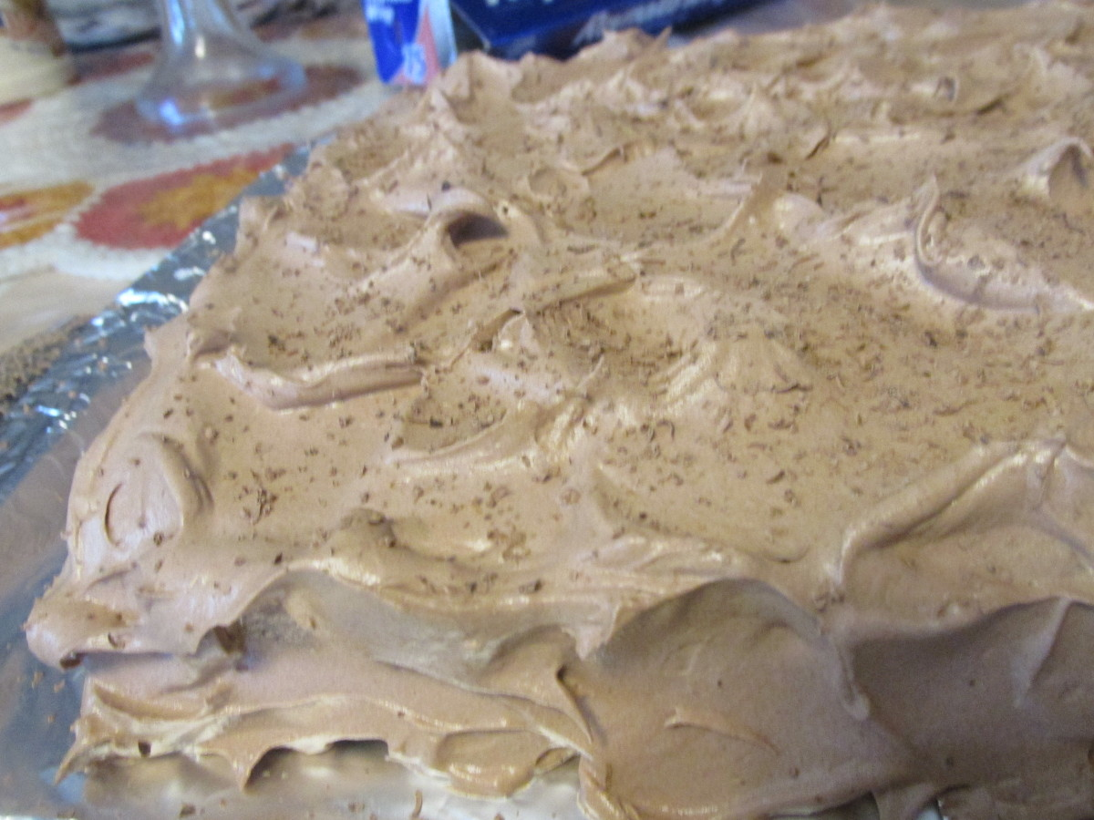 A look at the fluffy cocoa frosting on this German chocolate cake.