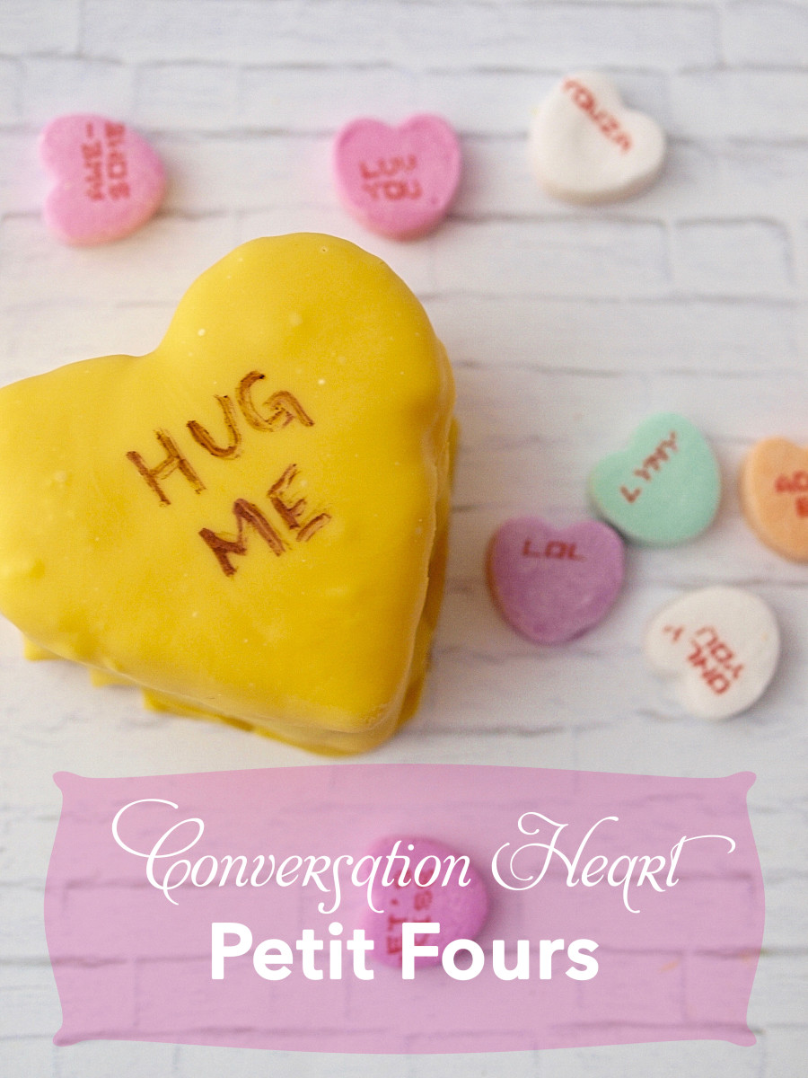Conversation Heart Petit Fours for Valentine's Day