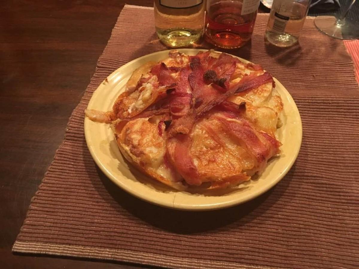 French Cheese and Bacon Potato Cake Recipe | Delishably