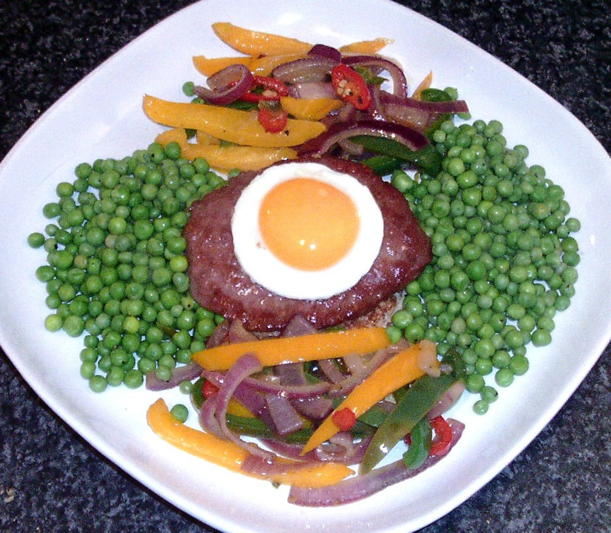 Belgian Blue Beef Burger With Spicy Stir Fried Peppers Recipe
