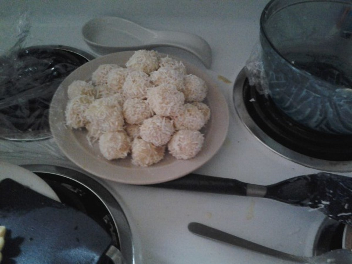 Coconut brigadeiros, just waiting to be eaten