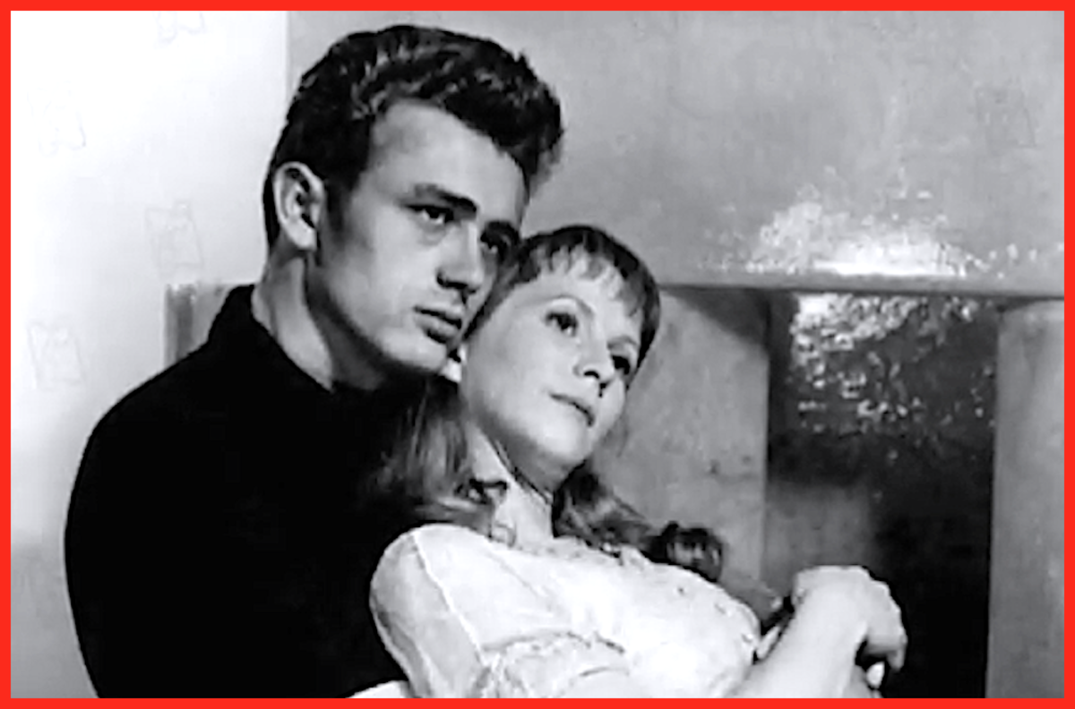 "Actress Julie Harris and co-star James Dean in 1955's ""East of Eden."" Not long after this film's release, Dean died in a tragic car crash while driving his Porsche."