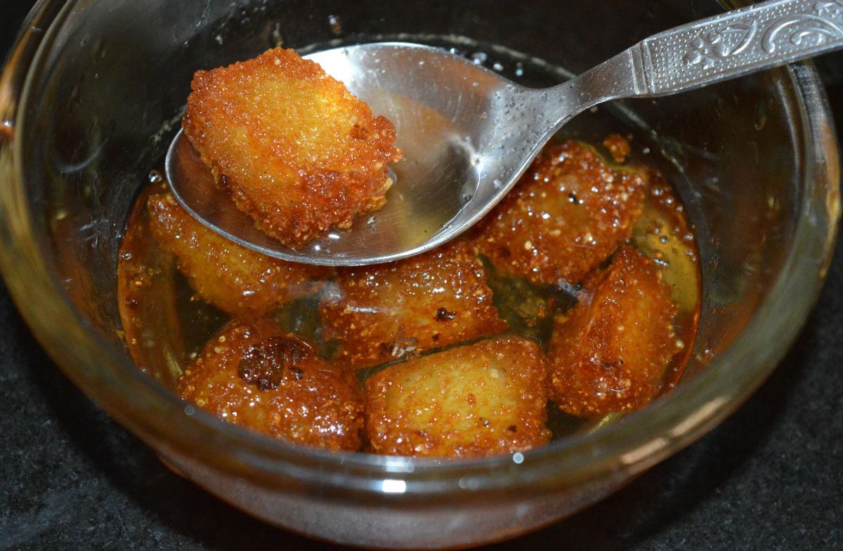 Making Idli Dessert or Idli Jamuns