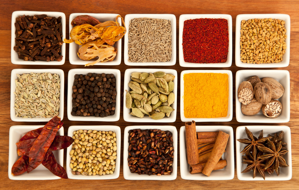 Colorful spices used in Indian cuisine.