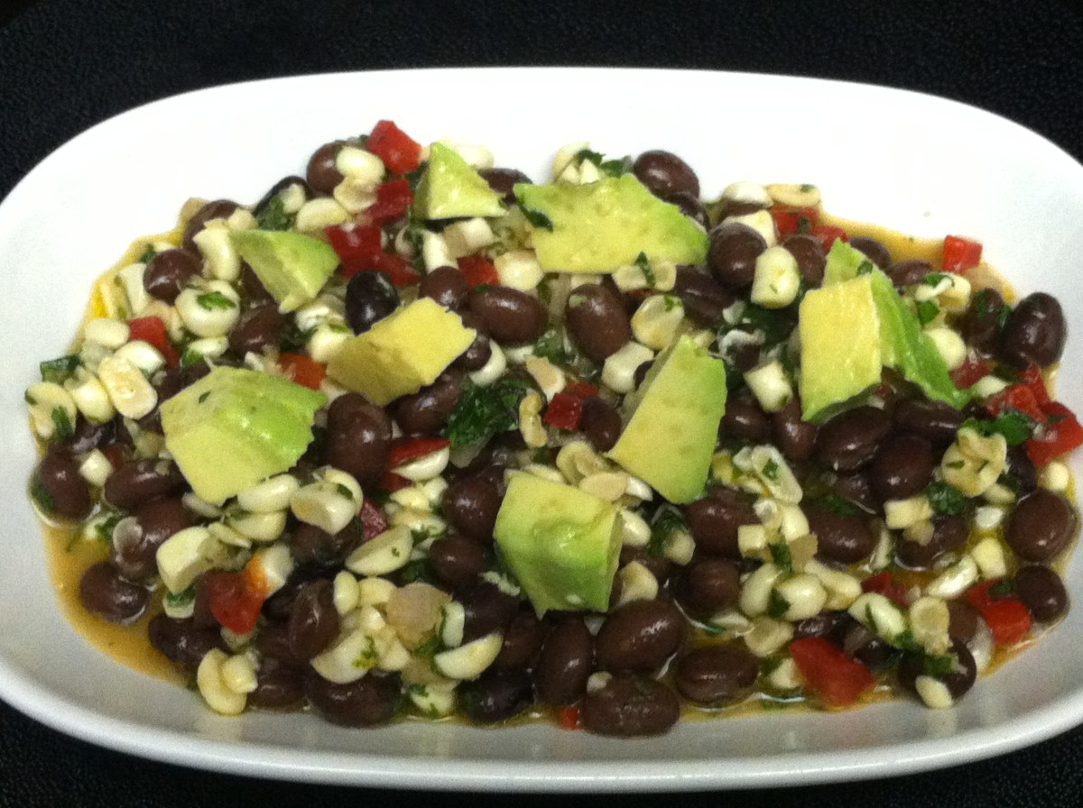 Black bean salad with corn, red pepper and avocado