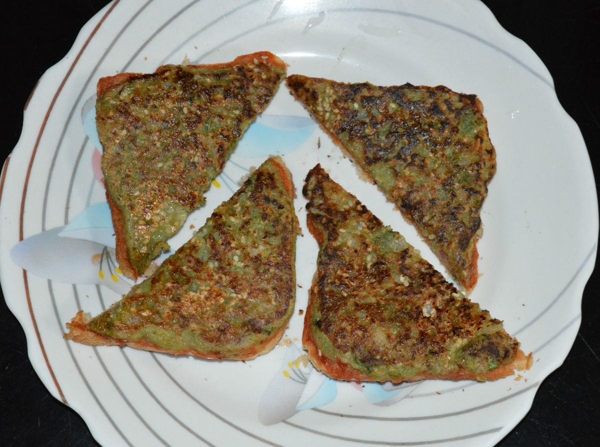 Cheese mung bean toast (cheese moong dal toast)