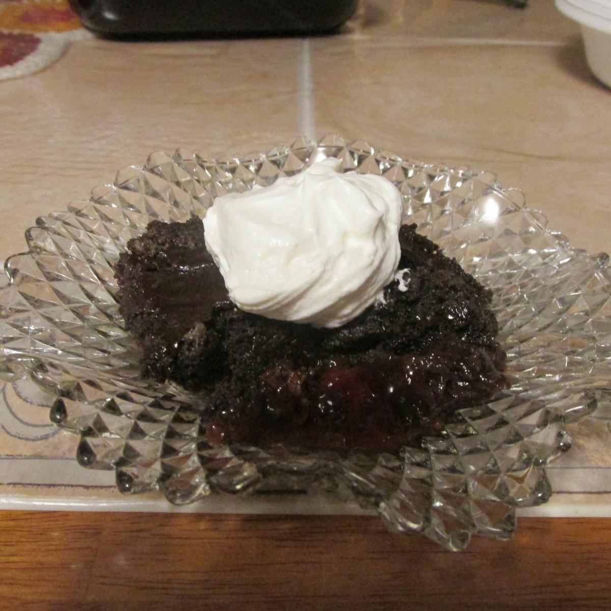 Black Forest dump cake ready to serve.