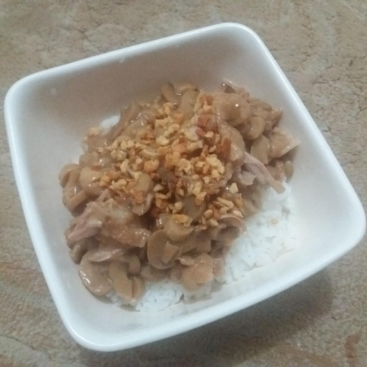 Leftover Chicken in Mushroom Gravy Sauce