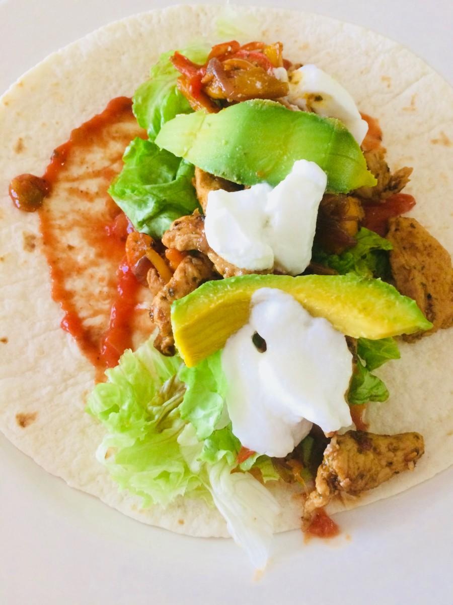 Left-over Roast Chicken, Salsa, Avocado and natural Yogurt Wrap