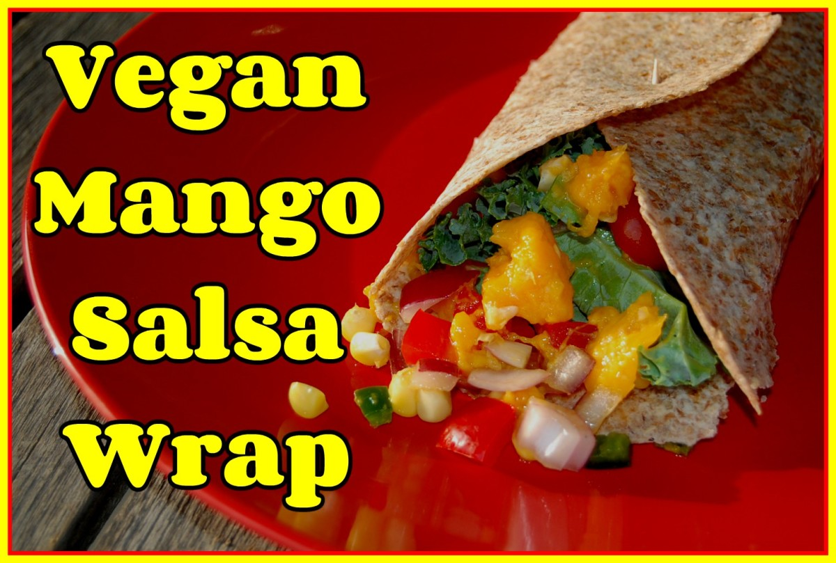 This mango salsa includes red pepper, purple onion, jalapenos, and corn.