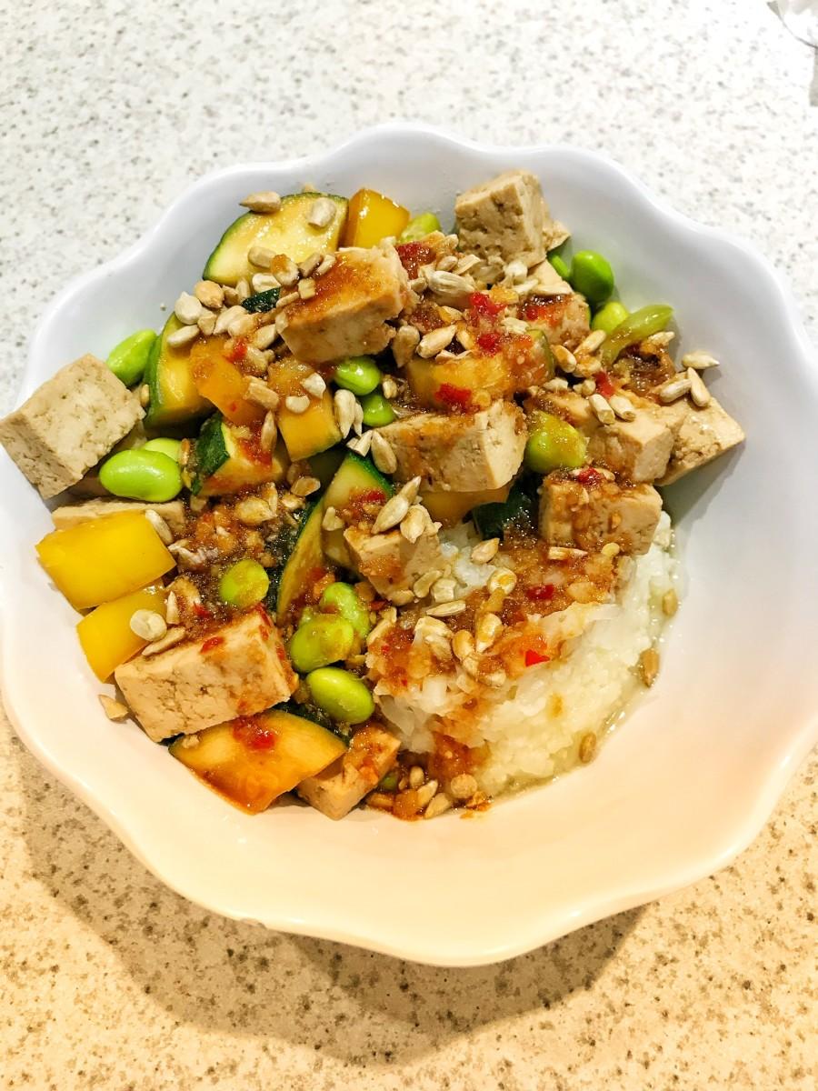 Vegan Buddha Bowl With Tofu, Edamame, and Veggies