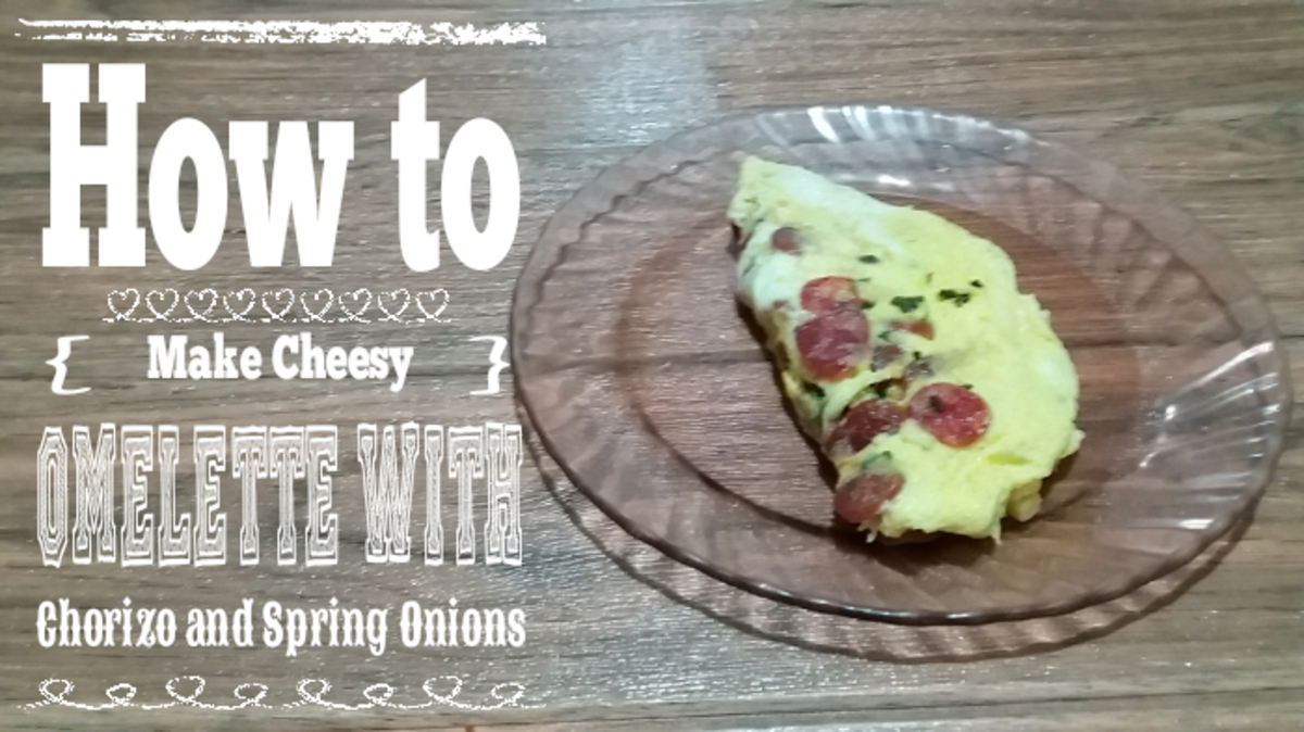How to Make Cheesy Omelet With Chorizo and Spring Onions