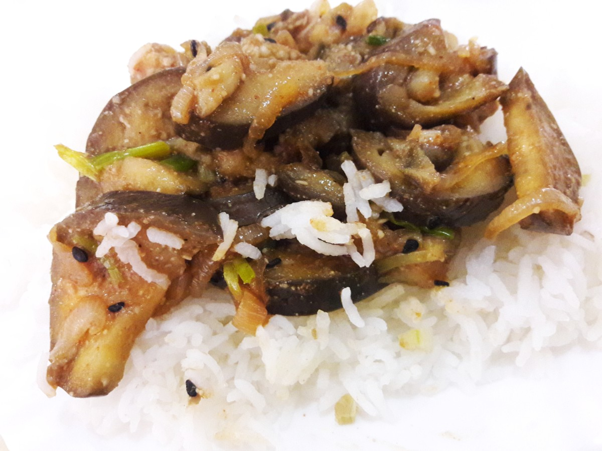 Eggplant curry over rice.
