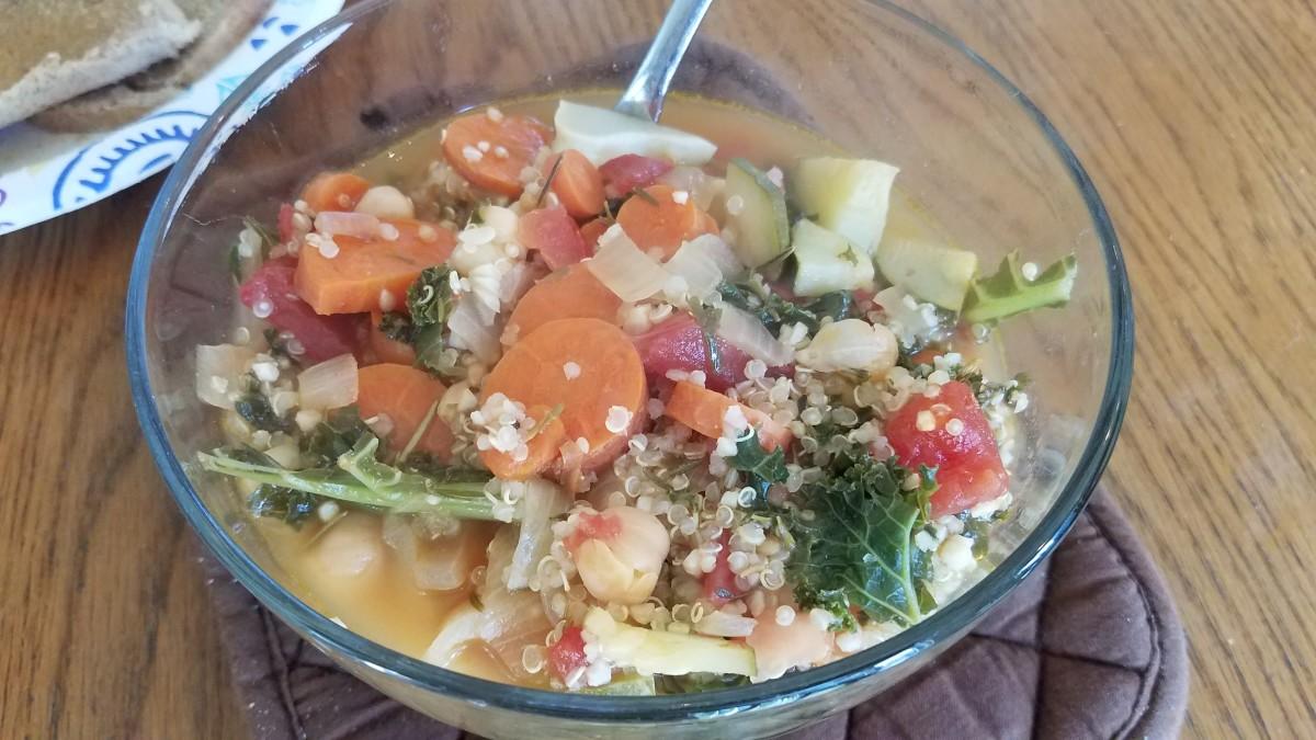 Yummy summer vegetable quinoa soup