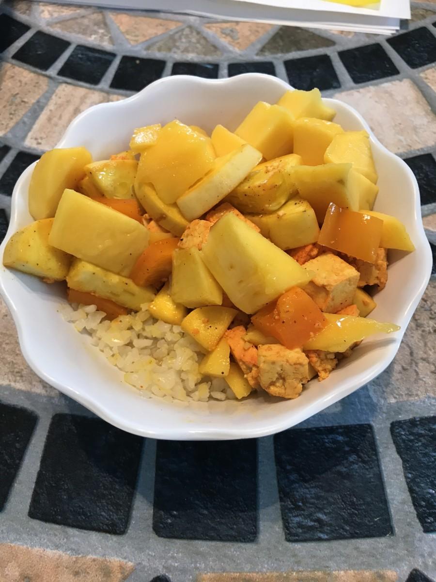 Vegan Spanish-Style Buddha Bowl With Squash and Mango